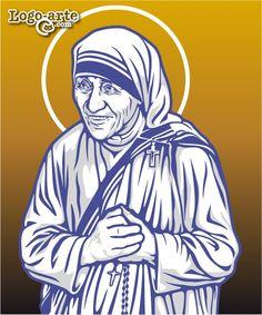 Imagen vectorial de la Madre Teresa de Calcuta (actualmente Santa Teresa de Calcuta) realizada en blanco y negro para corte en plotter y disponible en http://www.logo-arte.com/teresa-calcuta.htm.