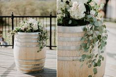 Greenery on wine barrels, Chandler Hill Vineyards wedding