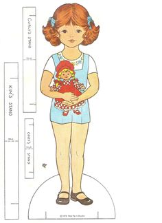 KIM'S PAPER DOLL COLORING BOOK. 1978.  Eight Pages of Kim's Favorite Outfits to Color and Punch Out.  Red Farm Studios. COVER