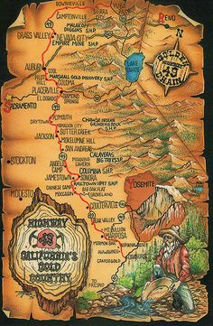 California Gold Country Map - I went to grade in Placerville :) California History, California Dreamin', Northern California, California Mountains, Sutter Creek, Alaska, Gold Prospecting, Country Maps, Gold Rush