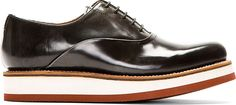 Grenson - Grey Buffed Leather Stacked Sole Sammy Shoes
