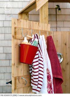 Outdoor shower organization.