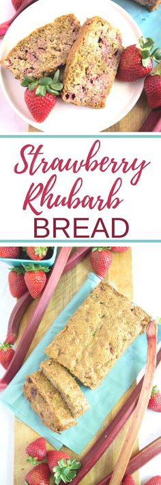 This Strawberry Rhubarb Bread is whole wheat, dairy free, super moist & fluffy, and so perfect for summer!  | healthy breakfast recipes | rhubarb recipes | strawberry rhubarb recipes | whole wheat recipes |
