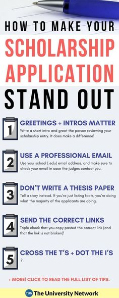Here are 5 tips to make your scholarship application STAND OUT! From a scholarship judge. Tips for applying for scholarships. Get money for college! Scholarships For College, Education College, College Students, Business Education, Higher Education, Athletic Scholarships, Education City, Education Quotes, College Scholarships
