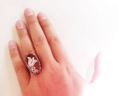Hungarian tulip  Stained glass ring by schalle on Etsy, $33.00
