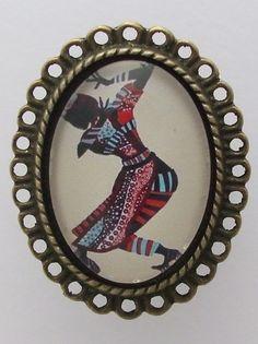 """Bague """"Danses africaines"""" cabochon bijou fantaisie femmes marron bleu violet rose vert : Bague par cabochonsuccess"""