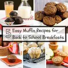 5 Easy Muffin Recipes for Back to School Breakfasts ~ http://www.garnishwithlemon.com