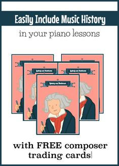 Have your piano kids started a Composer Trading Card collection yet? They're free and they're a fun way to include music history in your lesson offerings! Piano Lessons, Music Lessons, Easy Piano Sheet Music, Piano Teaching, Learning Piano, Music Activities, Music Games, Online Lessons, Music Education