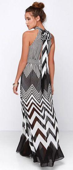 Black + White Chevron Maxi Dress