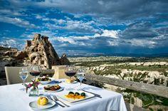 SEKI Restaurant Terrace Views at the Argos luxury boutique hotel in Cappadocia, Turkey