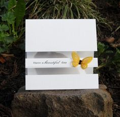 handcrafted greeting card ... clean and simple design ... acetate panel ... sentiment and die cut butterfly on strip going across the clear acetate ... like it!!