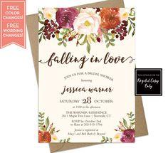 Fall Bridal Shower Invitation - Fall in Love Bridal Shower Invite - Wedding Shower - Baby Shower Invite - Fall Floral Invitation - LR1086 by LittleRoseStudio on Etsy https://www.etsy.com/listing/519922980/fall-bridal-shower-invitation-fall-in