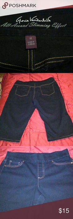 "NWOT/Gloria Vanderbilt/ Shorts S 12/ Super cute stretch denim shorts. Slimming effect & comfortable. Has cute little cleats on bottom side picture 4 shows this. Inseam 16"" Inventory # 0103 Gloria Vanderbilt Shorts Bermudas"