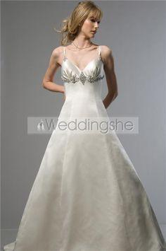 Gorgeous A-line Spaghetti Straps Sweetheart Floor-Length Chapel Beaded Wedding Dresses