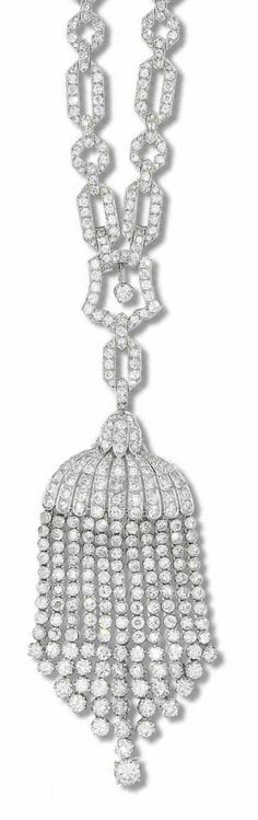 An Art Deco diamond sautoir, circa 1930. The geometric link longchain set throughout with brilliant, old brilliant and single-cut diamonds, suspending a similarly-set detachable tassel pendant, maker's marks, French assay marks, the lower part of each tassel is a later addition, longchain detaches to be worn as a shorter necklace. #ArtDeco #necklace #sautoir
