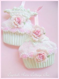 Tea Party Decor - Shabby Pink Rose Cupcake Ornaments handmade by Crystal's Rose Cottage Chic