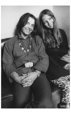 David Bailey and Penelope Tree, Photographed By Richard Imrie For  Vogue, February 15, 1970