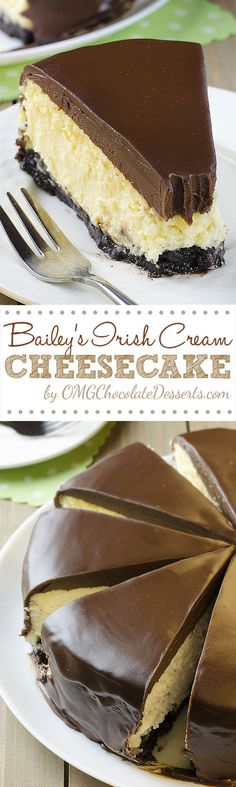 Boozy, sinful and decadent Irish Cream Cheesecake loaded with Bailey's Irish Cream, topped with thick layer of chocolate ganache and Oreo crust, will be great St. Patrick's Day dessert.  OK, to be hon