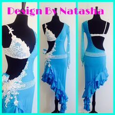 Blue Latin Dance Dress Latin Dance Dresses by DesignByNatasha