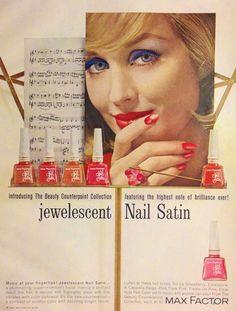 Max Factor 'Jewelescent' Nail Satin Polish Ad, 1962