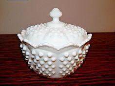 Ingenious Fenton Vintage Milk Glass White Hobnail Ruffled Edge Bowl Candy Dish Signed Glass