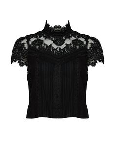 Lace cap sleeves and a high neck! This top is sure to stun!
