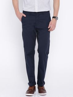 Buy Allen Solly Navy Custom Fit Casual Trousers - Trousers for Men | Myntra
