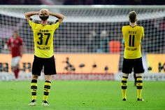 "ddurm: ""Erik Durm and Marco Reus react during the German Cup (DFB Pokal) final football match Bayern Munich vs Borussia Dortmund at the Olympic stadium in Berlin on May 21, 2016. """