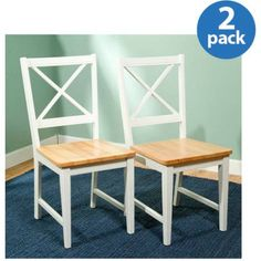 Virginia Cross-Back Chair, Set of 2, White/Natural - Walmart.com