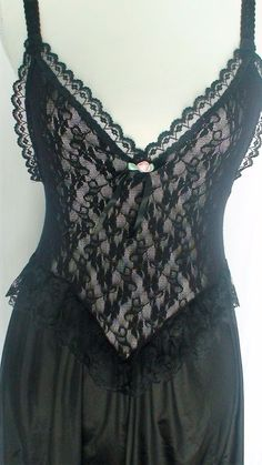 Sexy Black Stretch Lace Bodice Retro Babydoll #FeatherBedIntimates
