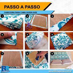 Você vai precisar de: • 5 metros de tecido (guarde a sobra para caso, com o uso, alguma parte da cabeceira seja danificada) • 18 placas de...