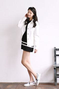 Trendy Korean dress, white jean jacket, simple shoes