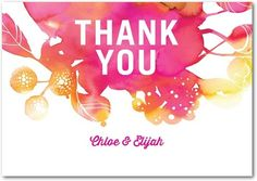 Bold pinks pop on this thank you card
