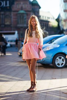 girly skirt with flat booties