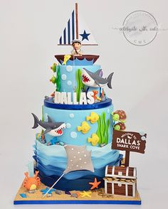 Ocean Birthday Cakes, Birthday Cake Kids Boys, Ocean Cakes, Beach Cakes, Sailor Cake, Marine Cake, Nemo Cake, Little Mermaid Cakes, Shark Cake