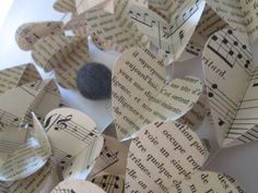 Vintage French 'Words & Music' Paper Heart Garlands by futtatinni, $10.00