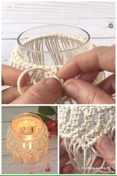 DIY Macrame Candle Holder Tutorial with easy video tutorial to make a Macrame De. - DIY Macrame Candle Holder Tutorial with easy video tutorial to make a Macrame Decoration around a g - Macrame Wall Hanging Diy, Macrame Art, Macrame Projects, Macrame Knots, Macrame Headband, Macrame Thread, Macrame Plant Hangers, Weaving Projects, Macrame Jewelry