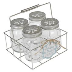 Set Of 4 Drinking Jars With Carrier from Rex London - the new name for dotcomgiftshop. Great value gifts and homeware in original designs. Free UK delivery available. Drinking Jars, Glass Jars With Lids, Vintage Mason Jars, Tea Party Decorations, Bachelorette Pad, Vintage School, Party Plates, Green Kitchen, Paper Straws