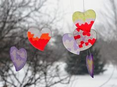 "Valentine's DIY: ""Stained Glass"" Sun Catchers & Paper Heart Wreath"