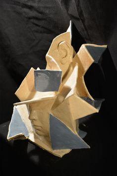 #Ceramic #sculpture by #sculptor Paola Grizi titled: 'Cubic (Contemporary beautiful female face sculptures)'. #PaolaGrizi