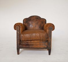 Antique French Deco Leather Club Armchair Chair 1920s