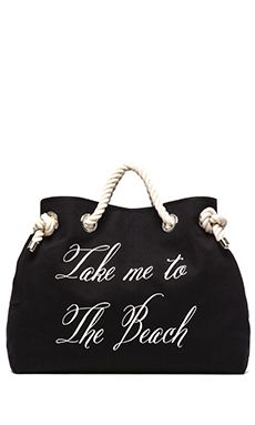 Wildfox Couture Take me to The Beach/Bel Air Reversible Tote in Yellow Stripe & Black | REVOLVE