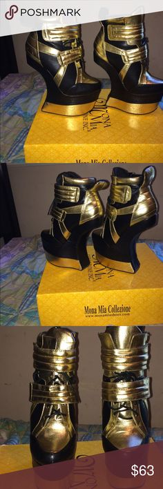 Exotic Platform Heels Black and gold exotic no heel platforms. These babies are actually very comfortable and I had a performance in them one time before. I had them for about 5 years now and only wore them once. No marks no scuffs no nothing, they would be great for a photo shoot. Shoes Platforms