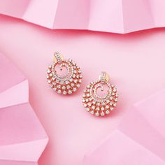 Sprinkle your ears with some stars tonight Catch these and plenty of Diamond Earrings Indian, Diamond Solitaire Earrings, Diamond Earing, Diamond Jewelry, Diamond Studs, Diamond Pendant, Diamond Bracelets, Gold Bangles, Jewelry Design Earrings