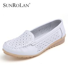 SUNROLAN Plus Size Women Shoes Slip-on Loafers Ladies Causal Round Toe Nurse Genuine Leather Flats Shoes Driving ShoesBFS168-169