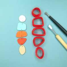 Polymer Clay Tools, Fimo Clay, Polymer Clay Jewelry, Diy Clay Earrings, Etsy Earrings, Jewelry Making Tools, Tools For Sale, Clay Crafts, Geometric Shapes