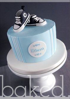 Converse Christening Cake by Helena Baby Shower Cakes For Boys, Baby Shower Cupcakes, Converse Cake, Baby Converse, Baby Birthday Cakes, Buy Cake, Baby Christening, Baby Boy Shoes, Party Cakes