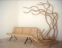Spaghetti Bench (2006), by Pablo Reinoso - Handcrafted wood and steel legs