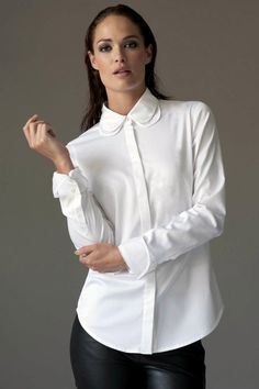https://www.cityblis.com/6074/item/12535 | SOFIA WHITE - $129 by The Shirt Company | A beautiful shirt featuring a double layer cotton and cotton organdie collar. The silhouette is semi fitted and cut with a curved hem.  Cuffs are delicately trimmed with organdie and fold back to form a simple double cuff secured with 2 diamante buttons. Tuck this unique blouse into a lady like ski... | #Tops/Blouses