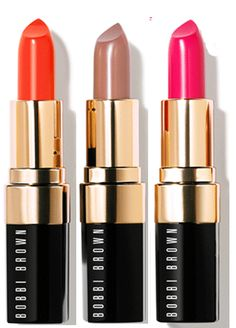 Love different lipssss: Neon and nude makeup: Bobbi Brown Neons and Nudes lip collection in (left to right) Atomic Orange, Uber Beige and Neon Pink, $23 each